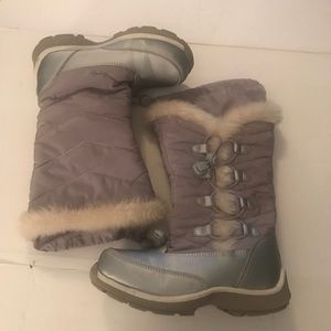 Lands' End Girls Size 13M snowflake boots silver